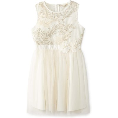 Yumi Girls Embroidered Floral Ombre Dress, Cream