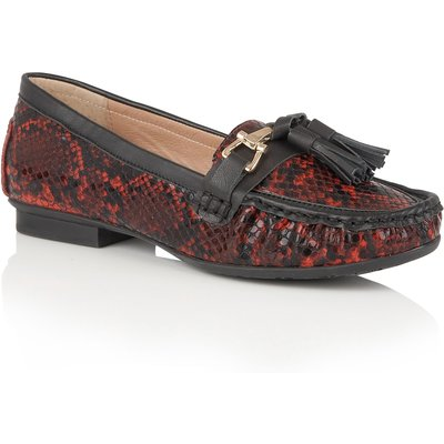 Lotus Chalina animal print loafers, Red