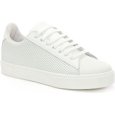 Daniel Gotska perforated lace up trainers, White