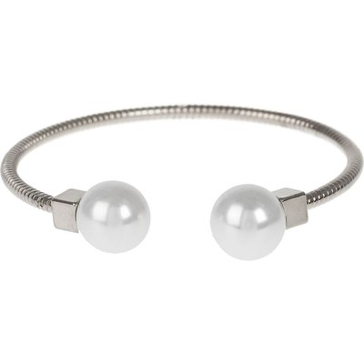Mikey Pearl Cap End  Snake Wire Cuff Bracelet, N/A