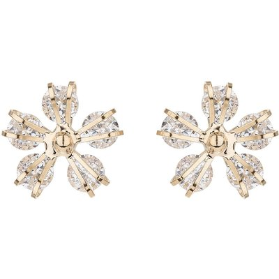 Mikey Round cubiic disc flower stud earring, N/A