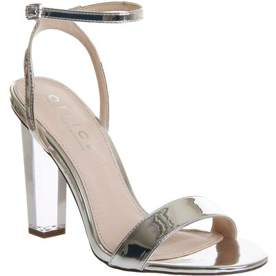 Office Hover Perspex Heel Sandals, Silver