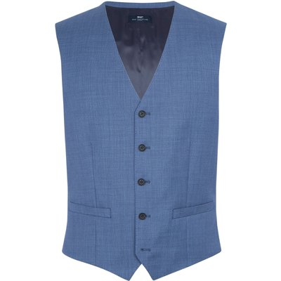 Men's Paul Costelloe Modern fit light blue birdseye waistcoat, Light Blue