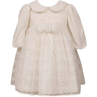 Heritage Girls Velour / Lace Dress, Cream