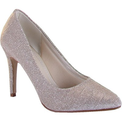 Rainbow Club Twiggy metallic sparkly court shoes, Silverlic
