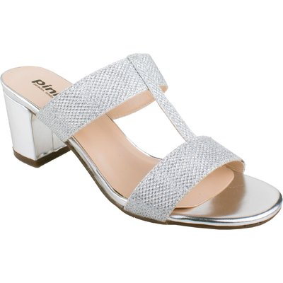 Paradox London Pink H-bar sandal with block heel sandals, Silverlic Silver