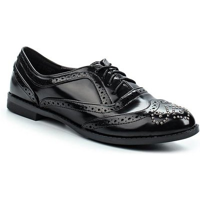 Lost Ink Janice brogue detail oxford shoes, Black