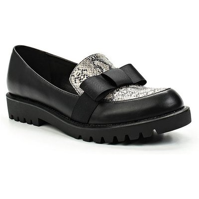 Lost Ink Becca cleat sole loafers, Black