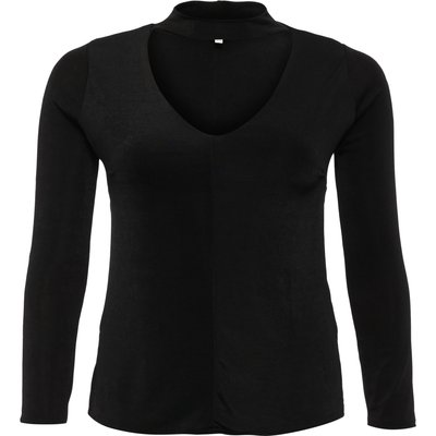 Lost Ink Curve V Neck Top With Tie Sleeves, Black