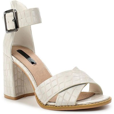 Lost Ink Mollie flared heeled sandals, White