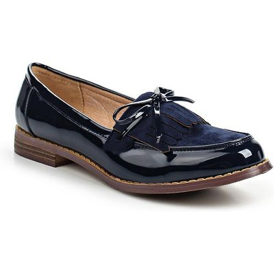 Lost Ink Heidi fringed flat shoes, Blue