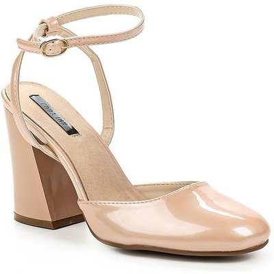 Lost Ink Flick flared heel dolly courts, Nude