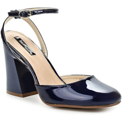 Lost Ink Flick flared heel dolly courts, Blue