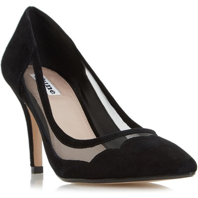 Dune Bunnie scallop pointed toe court shoes, Black