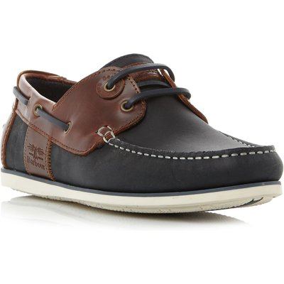 Barbour Capstan eyelet lace up boat shoes, Dark Blue