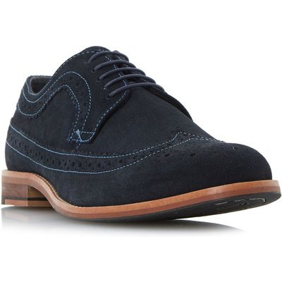 Howick Bander Contrast Stitch Brogue Shoes, Blue