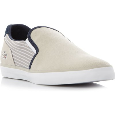 Lacoste Jouer Slip-On Striped Quarter Trainers, Grey