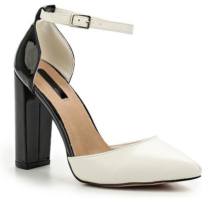 Lost Ink Carey d`orsay block heel courts, Black/White