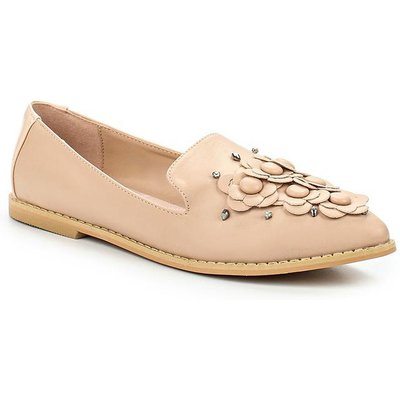 Lost Ink Jenny applique floral loafers, Nude