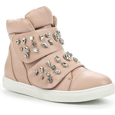 Lost Ink Tint jewelled strap hi tops, Nude