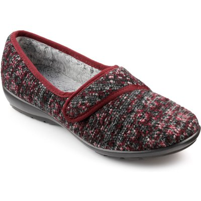Hotter Thyme Ladies Touch-Close Slippers, Red