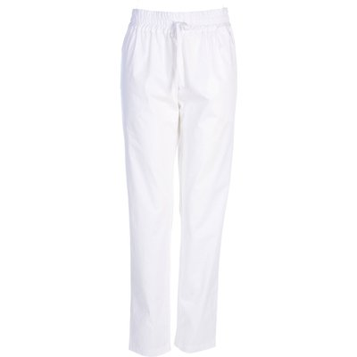 Stefanel Cotton Trouser With Drawstring, White