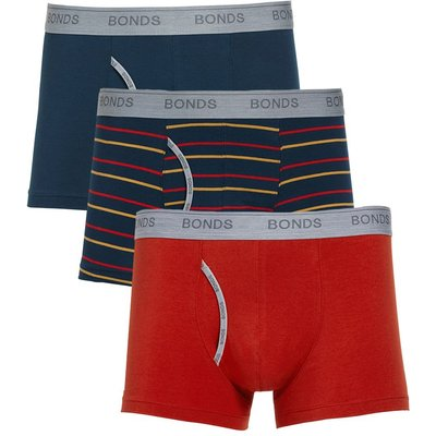 Men's Bonds Mens 3 Pack Guyfront Trunk, Multi-Coloured