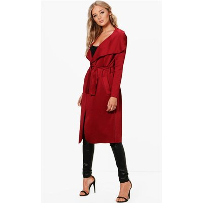 Shawl Collar Belted Duster - burgundy