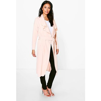 Shawl Collar Belted Duster - nude
