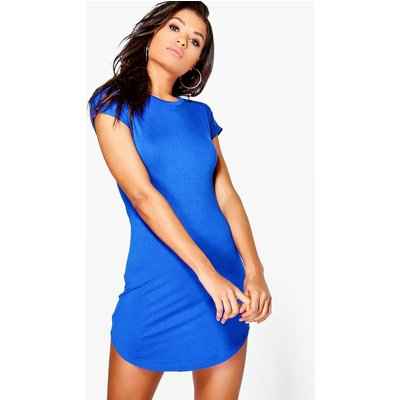 Curved Hem Roll Sleeve TShirt Dress - cobalt