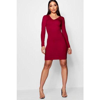 V Neck Long Sleeve Bodycon Dress - berry