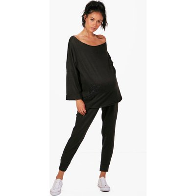 Sasha Applique Sweat Top  Loungewear Set - black
