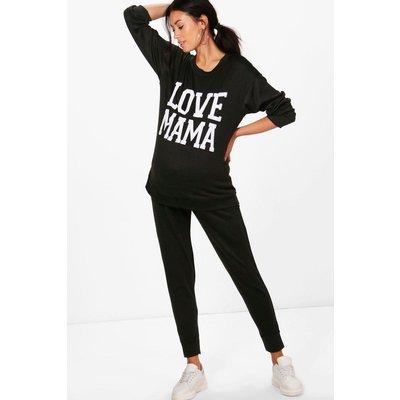 Mia Love Mama Top  Lounge Jogger Set - black