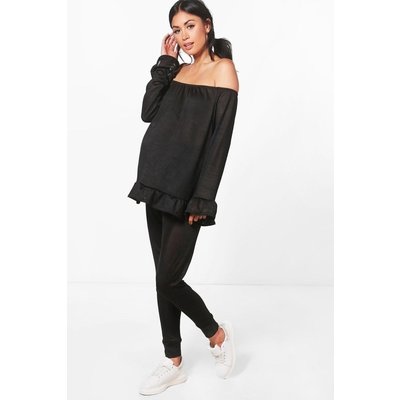 Ella Ruffle Top Loungewear Set - black