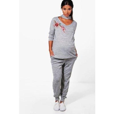 Ellie Choker Embroidered Loungewear Set - grey