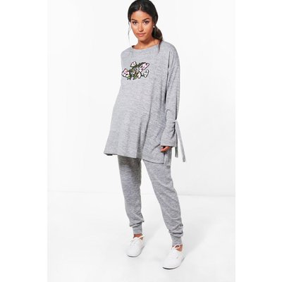 Evie Oriental Floral Print Loungewear Set - grey