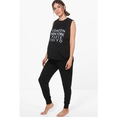 Sophia Slogan Printed PJ Set - black