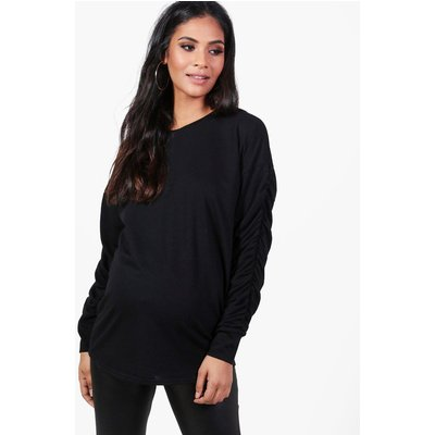 Evie Ruched Sleeve Sweat Top - black
