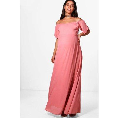 Clare Off The Shoulder Maxi Dress - dusky pink