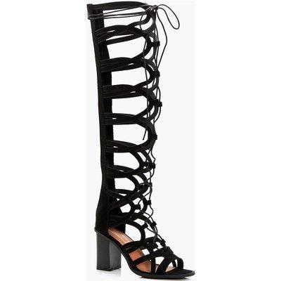 Lace Up Block Heel Knee Sandal - black