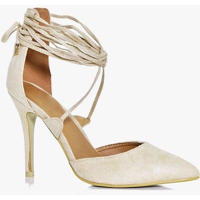 Pointed Wrap Strap Court Heels - cream