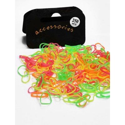 Multi Neon Coloured Mini Elastic Hair Bands - neon