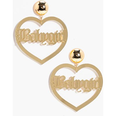 Babygirl Slogan Heart Earrings - gold