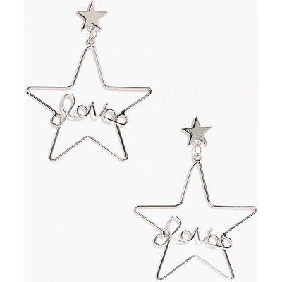 Love Slogan Star Hoop - silver