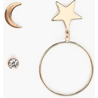Star Hoop and Diamante Earrings - gold