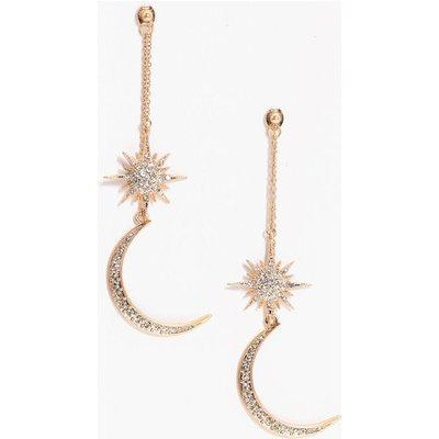Statement Diamante Sun Moon Earrings - gold