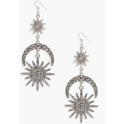 Statement Diamante Sun Moon Earrings - silver