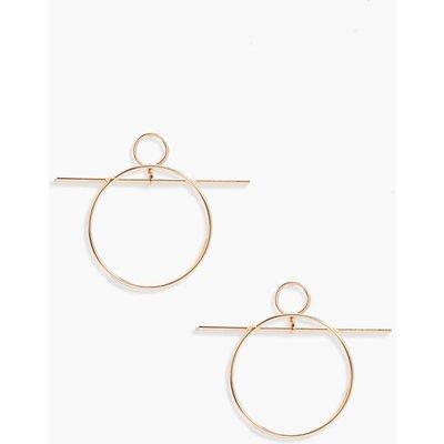 Bar Detail Hoop Earrings - gold