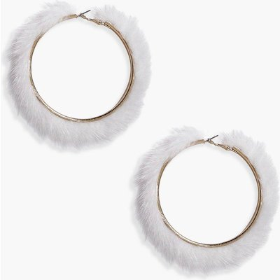 Faux Fur Hoop Earrings - white