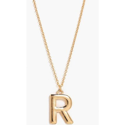 R Initial Charm Necklace - gold